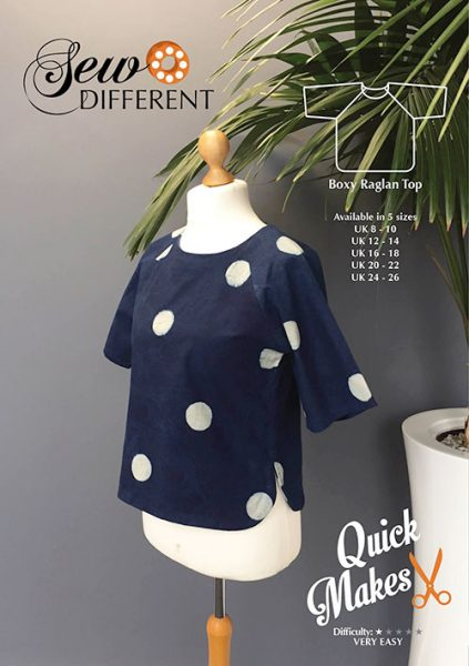 Boxy raglan top sewing pattern